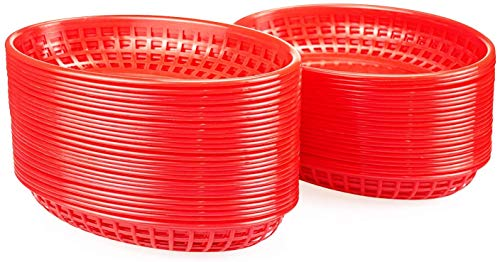 Lawei 50 Stück Servierkörbe Brotkorb Plastikkörbchen für Pommes Grillfest Picknicks BBQ Servierkörbchen - Rot, 14 x 22,5 x 3,8 cm