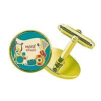 ヘッドセットをドラム楽器のパターン スタッズビジネスシャツメタルカフリンクスゴールド