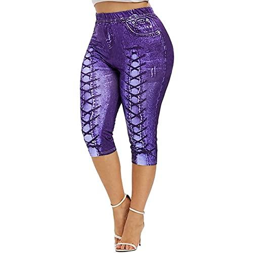 N\P Pantalones cortos de mezclilla de imitación de yoga de las señoras más el tamaño de las señoras pantalones cortos
