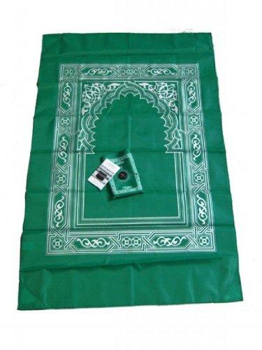 Islamischer Gebetsteppich mit Kompass in Tasche - dunkelgruen