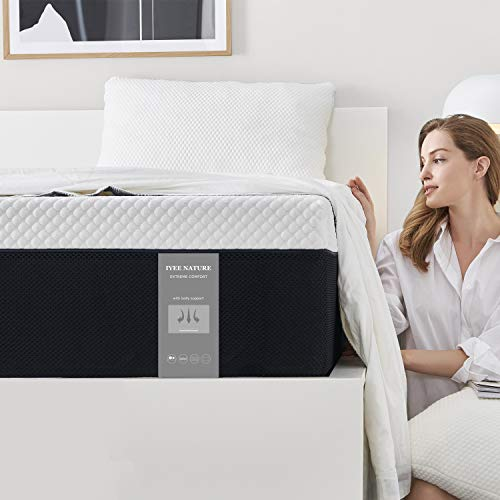 Queen Size Mattress, 8 Inch Iyee Nature Cooling-Gel Memory Foam Mattress Bed in a Box, Supportive & Pressure Relief with Breathable Soft Fabric Cover, Medium Firm Feel,Black