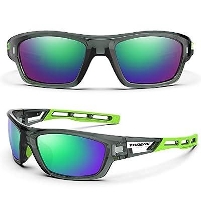 TOREGE Polarized Sports Sunglasses for Man Women Cycling Running Fishing Golf TR90 Unbreakable Frame TR07 Steath Man (Transparent Grey&Green&Green Lens)