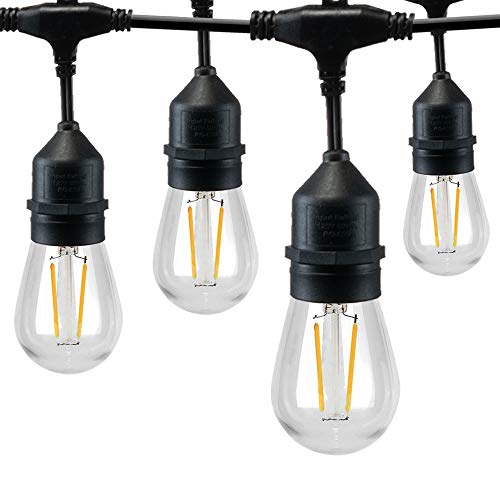 SUNTHIN Outdoor String Lights, 8M S14 Led Patio Lights with 8 Waterproof Outdoor Sockets and 9 x Dimmable Plastic Bulb Festoon Light String(1 Spare) for Wedding Party Garden