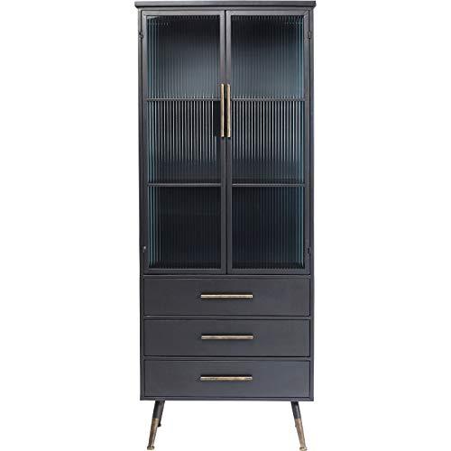 Kare Design Hochschrank La Gomera 2 Türen 3 Schübe, Industrial Vitrine, Vitrine schwarz, (H/B/T) 180x72x38cm