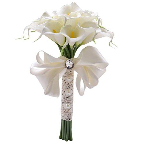 LUOEM - Bouquet di fiori artificiali da sposa con perla per matrimonio