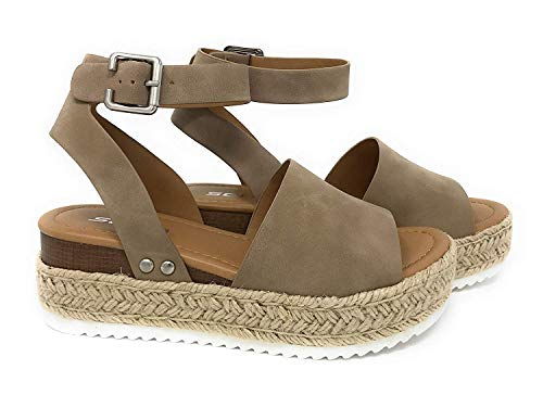 Soda Topic Women's Open Toe Ankle Strap Espadrille Sandal,Natural Nubuck,8.5