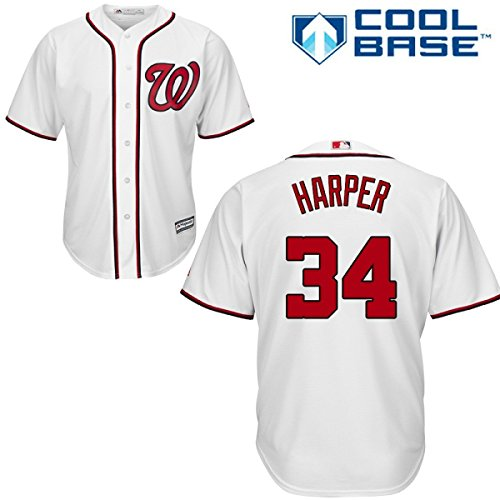 Majestic Bryce Harper Washington Nationals Youth Cool Base Home Jersey...