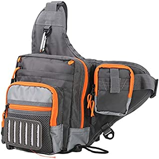 SODIAL Multi Purpose Fishing Bag Freshwater Fishing Lure Tackle Bag 23 x 21 x 8.5 cm Backpack Crossbody Sling Bag for Fly Fishing Accessories