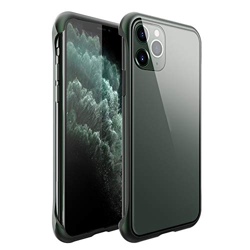 ErYao for iPhone 11 Pro Max 9H Tempered Glass Back Cover, Magnetic Adsorption Phone Case with Metal Bumper, Anti Scratch, Support Wireless Charging Cover (Green)