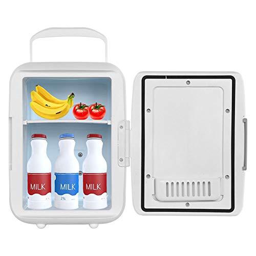 Ladieshow Mini frigo, Dispositivo Raffreddamento/scaldino Compatto portatila 4 Litri Sistema termoelettrico Ecologico per Frigorifero Personale per Auto Viaggi Case Dormitori 9.57X7.09X9.84in(Bianca)