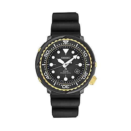 Seiko Prospex Solar Dive Watch with Black Silicone...