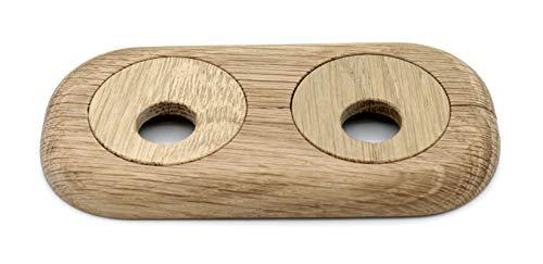 Roseta doble para tubos de calefacción, madera maciza, para tubo diámetros: 15 mm, 19 mm, 22 mm; rosetones/ protectoras radiador/ cubiertas, madera de arce, haya, roble, nuez (15mm, roble no tratado)
