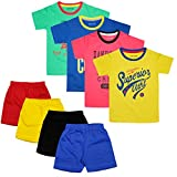 Luke and Lilly Boy's Cotton Half Sleeve T-Shirt and Shorts (Multicolour; 3-4 Years)