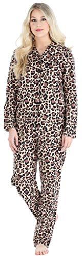PajamaMania Women's Cotton Flannel Long Sleeve Pyjamas PJ Set, Brown Leopard (PMF1002-2072-EU-LRG)