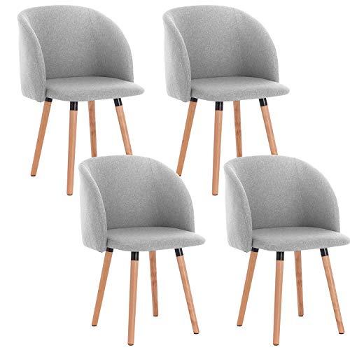 WOLTU 4X Sillas de Comedor Nordicas Estilo Vintage Dining Chairs Juego de 4 Sillas de Cocina Tulip Sillas Tapizadas en Lino Silla de Conferencia Silla de Escritorio Gris Claro BH120hgr-4