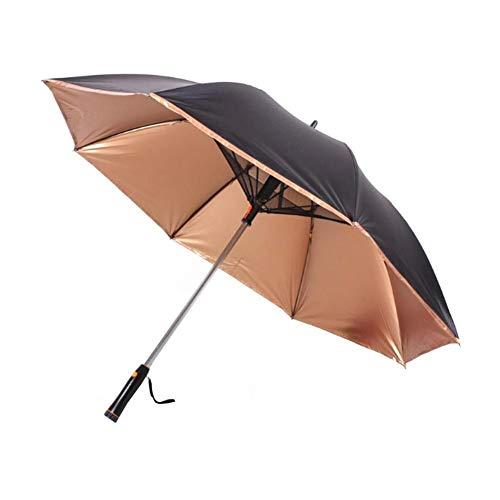 Paraguas Paraguas con Ventilador USB Mango Largo Sun - Prueba Paraguas UV De Protección Solar Paraguas con Ventilador Suplementario Paraguas (Color : Brown)