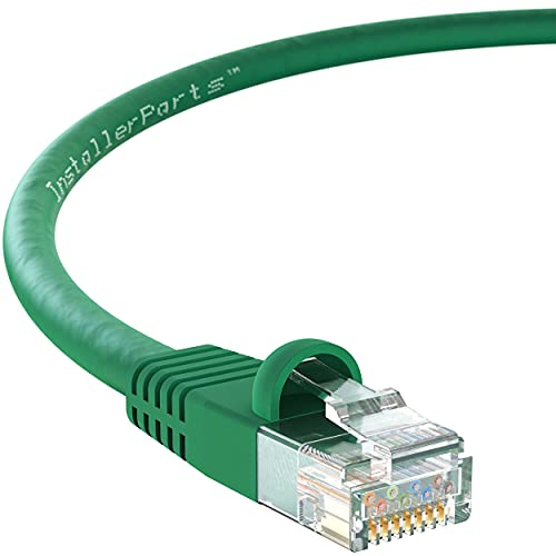 InstallerParts Ethernet Cable CAT6 Cable UTP Booted 25 FT - Green - Professional Series - 10Gigabit/Sec Network/High Speed Internet Cable, 550MHZ