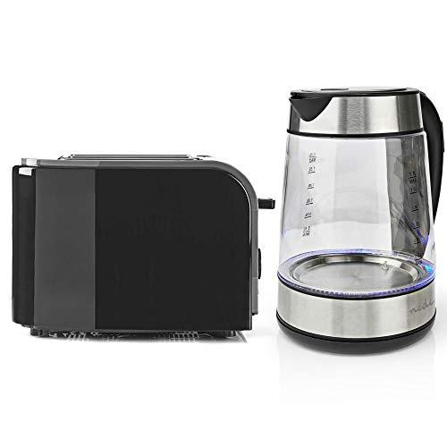 TronicXL Design Frühstücksset Toaster schwarz + 1,7l Glas beleuchteter Wasserkocher Edelstahl beleuchtet mit einstellbarer Temperatur