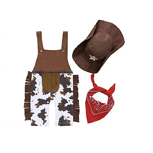 Toddler Baby Boy Romper Western Cowboy Costume Bib Overall Neckerchief Scarf Hat Clothes Set 3 PCS (Brown,3-6 Months)