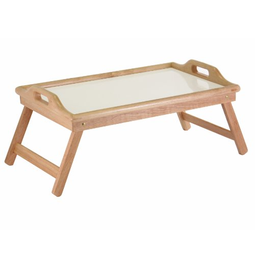Winsome Wood Sherwood Bed Tray, Natural and white top