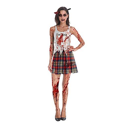 Summer Boutique, Costume da donna sexy, in stile zombie per Halloween A quadretti bianchi XL