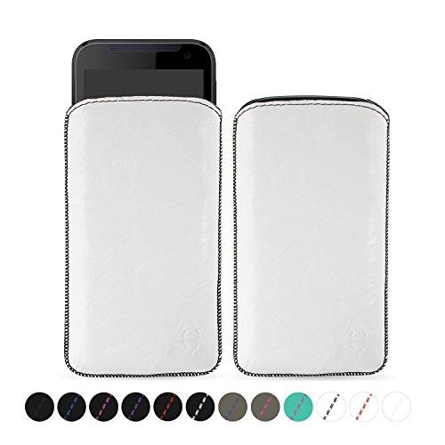 MediaDevil HTC Desire 310 Lederhülle (Weiß mit schwarzen Nähten) - Artisanpouch Hülle aus echtem europäischen Leder mit Ausziehlasche