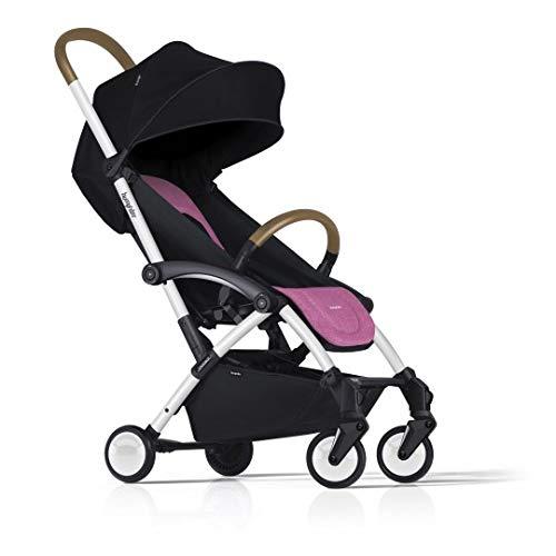 Bumprider Connect 2 Color blanco y rosa. Cochecito individual convertible en gemelar. Compacto y ligero. Homologado para equipaje de mano. Soporta hasta 25 kg. Respaldo reclinable.