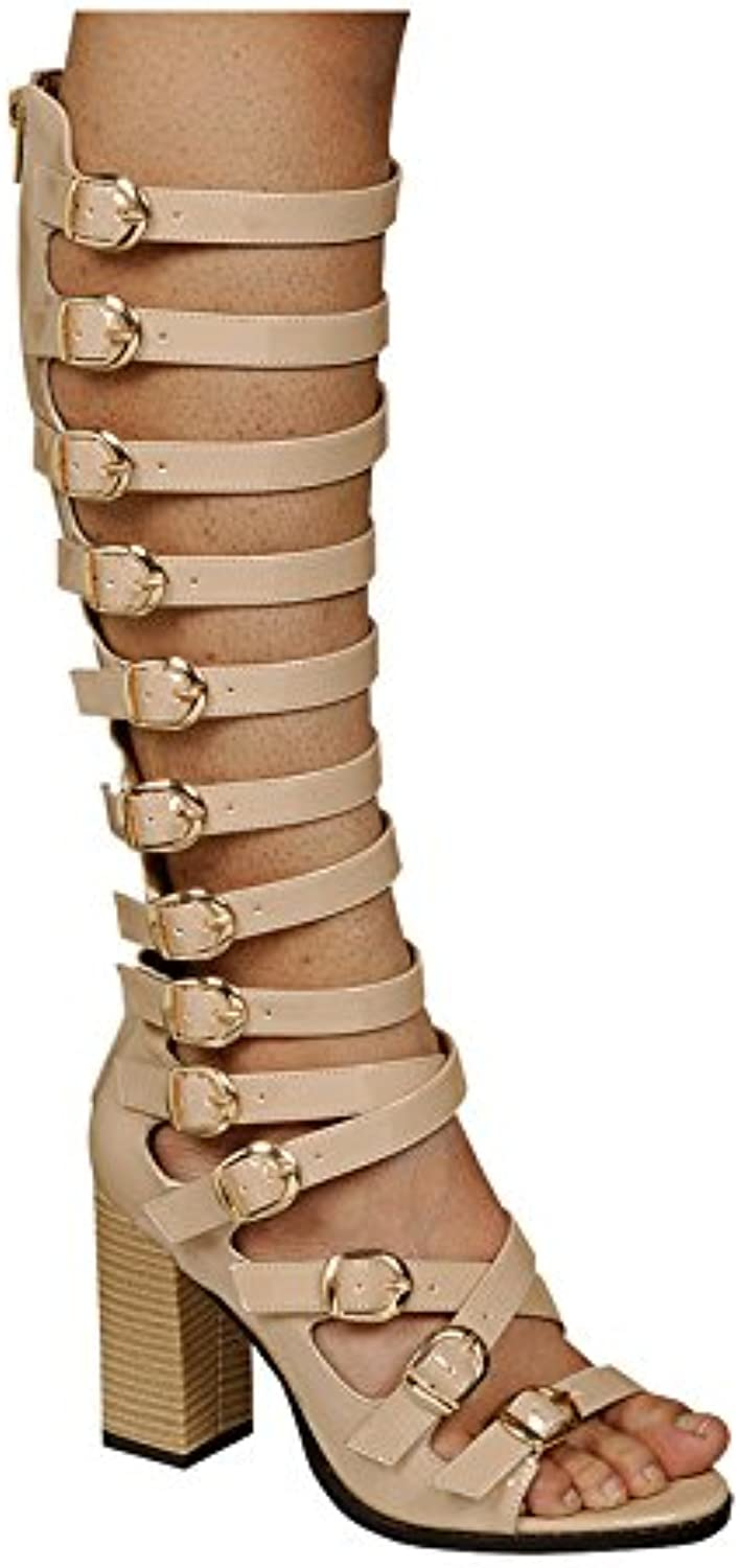 DS By KSC Womens High Heel Sandals Knee High Patent Gladiators w Strappy Buckles Nude