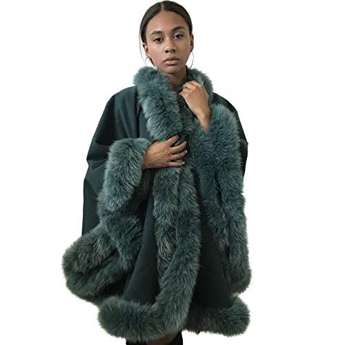 Poncho Cape Coat cashmere fox fur trim