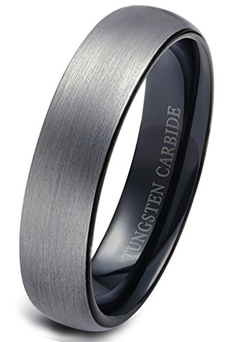 Jstyle Jewelry Tungsten Rings for Men Wedding Engagement Band Brushed Black 6mm Size 12