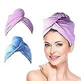 meilianeu - Set di 2 Asciugamani, 62 x 25 cm, Asciugamano per Capelli, asciugacapelli, Asciugamano ad Asciugatura Rapida, Assorbente, in Cotone Blau, Lila