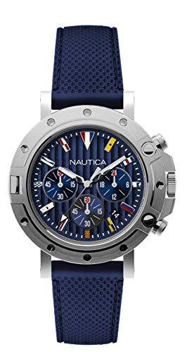 Nautica Herren Analog Quarz Uhr mit Silikon Armband NAD17530G