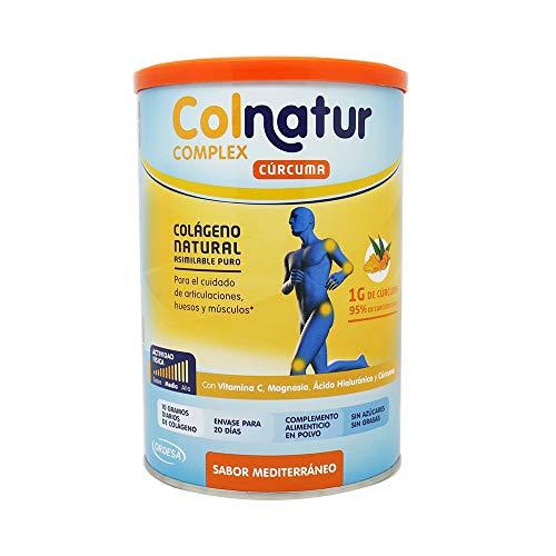 Colnatur Colágeno Complex Cúrcuma 250grs, cólageno natural asimilable puro, con vitamina C, Magnesio, Ácido Hialurónico y Cúrcuma, cuidado de articulaciones, huesos y músculos.12,5grs/día.