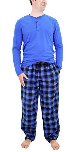 IZOD Men's Microfleece Pant & Jersey Henley Pajama Set, Navy/Black, Medium