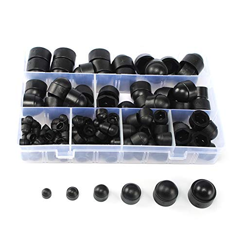 145pcs Plastic Dome Nut Kit, M4 M5 M6 M8 M10 M12 Black Dome Bolt Nut Hexagon Protection Cap Cover with Storage Box, Assortment Plastic Nut kits, Nylon Insert Locknut for Matching Screws or Bolts