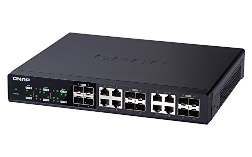 QNAP QSW-1208-8C-US 12-Port Unmanaged 10GbE Switch Twelve SFP+ with Shared Eight 10GBASE-T Ports 5 Twelve 10GbE SFP+ ports with Shared eight 10GBase-T ports unmanaged switch, NBASE-T support for 5-speed auto negotiation (10G/5G/2. 5G/1G/100M) With NBASE-T support, existing cables can be used. Backwards compatibility is provided for Legacy devices With a combination of SFP+ (fiber) and RJ45 (copper) ports, most devices can take advantage of 10GbE connectivity provided by the QSW-1208-8C