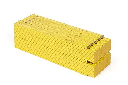 Metrie™ BLOCK 72 Zollstock/Zollstöcke - Gliedermaßstab   Maßstab - 2m - Gelb - Duplex Teilung, Hergestellt in der EU - 10 stück