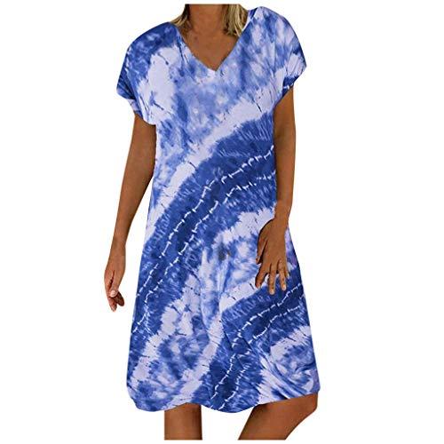 Shenye Damen Freizeitkleid, Fashion Tie-Dye Printed Kurzarm V-Ausschnitt Sommerkleid, Loose Beach Kleid, Elegantes T-Shirt Kleid, Partykleid, Streetwear