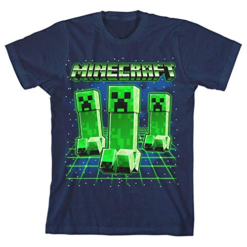 Minecraft Glowing Creepers Big Boys Youth T-Shirt Licensed (Navy Blue, Medium)