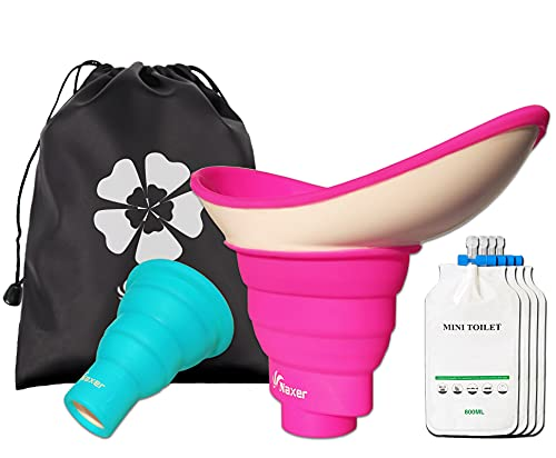 NAXER Female Urinal for Women with 4 Travel Disposable Urinal Bags, Shrinkable Male and Female Urination Device Set, Portable Urinal Pee Funnel Outdoor Essential Gear for Camping Hiking Car Boat Trip