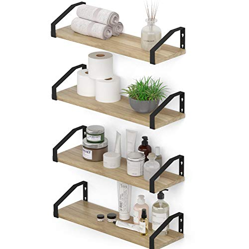 Wallniture Braga Wood Floating Shelves for Wall Organization and Storage, Bathroom Shelves Wall Mounted Set of 4 Machine Burned
