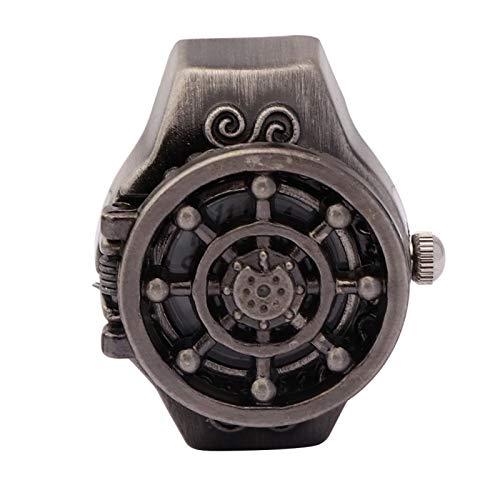 Reloj de anillo de cuarzo para dedo Reloj de anillo rojo/negro Correa de reloj elástica para diferentes tamaños de dedo Movimiento de cuarzo Patrón de timón(Black ancient)