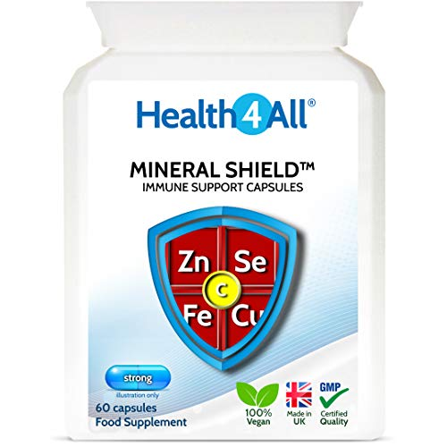 Mineral Shield Immune Support 60 Capsules (V) (2 Months Supply) with Vitamin C, Zinc 20mg, Selenium, Copper and Iron for Healthy Immune System Function