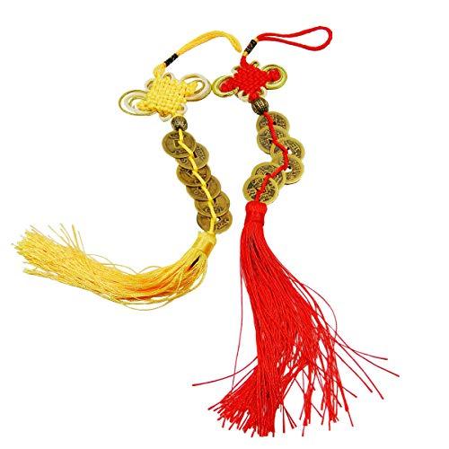 Mengger Monedas Chinas Antiguas Feng Shui I Ching Abalorio de La Suerte Hogar y Cocina Casa Coche Adornos Colgantes 2 piezas Nudo Chino