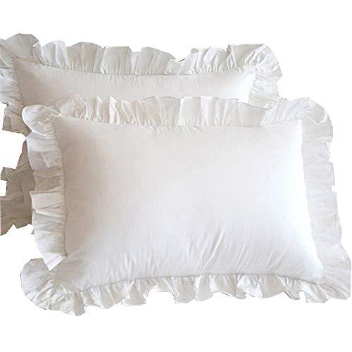 Meaning4 Juego de 2 fundas de almohada de algodón con dobladillo con volantes, tamaño estándar, 50 x 75 cm, color blanco