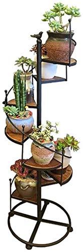 Titular de la maceta Planta americana flor Estante creativo del estante 8ª Planta Planta de Hierro Madera maceta interior de la joyería Habitación Sala Flor espiral del soporte + (Tamaño: 40x120CM) So