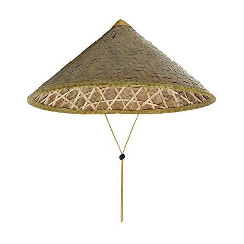Garciadia Chinesischer orientalischer Coolie-Sonnenhut mit Bambusstrohhut Tourismus-Regenmütze Konischer Bauer Unisex-Reishut (Farbe: Bambusfarbe)