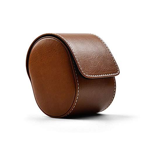 Caja para relojes Bolsa de almacenamiento de reloj de cuero de PU Bolsa de reloj portátil marrón Reloj de viaje Organizador Ejecutar un solo regalo de la caja para el aniversario de la Navidad