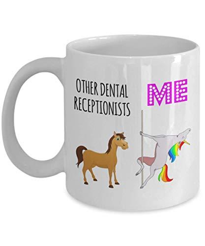 Recepcionista dental Taza de café con unicornio Ideas divertidas de regalos de cumpleaños de Navidad para la oficina de agradecimiento a los empleados Nueva taza de compañero de trabajo favorito del p