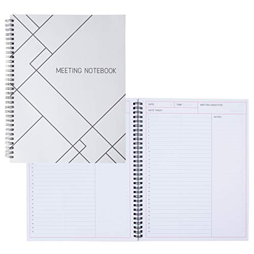 Calendar Journal- 2-Pack Meeting Book for Daily Notes Taking Business Planner for Project Management 80 Sheets Each White 11 x 8.5 Inches